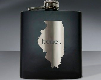 Illinois Shape Flask 01 - 6 oz. Flask