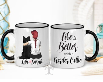 Life Is Better With a Border Collie Mug, Border Collie Mug, Personalized Border Collie Mug,  Border Collie Gift, Border Collie Mom