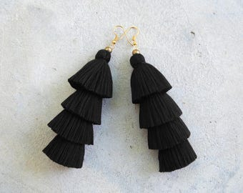 Four Tiered All Black Tassel Earrings