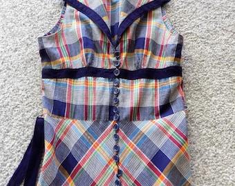 Vintage 70s BETTY BARCLAY Shirtwaist Plaid Maxi July 4th Picnic Dress Size Small S Sleeveless Boho Beach Party Flirty