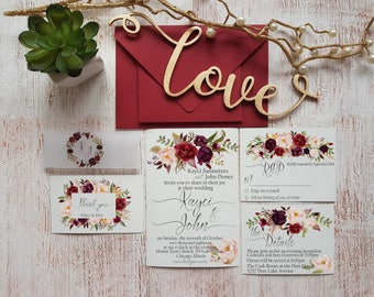 Wedding Invitations Suite Burgundy Wedding Invitation Suite Custom Rustic Wedding Invitation Set Marsala wreath Invitation