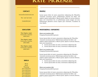 "Resume template 4 page | CV template + cover letter for MS Word | Instant digital download | Professional template | ""Kate"""