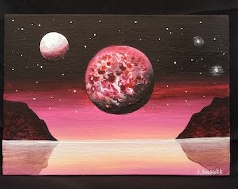 Magenta Sea - original painting on canvas board
