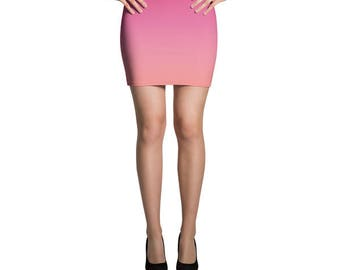 Ombre Skirt, Pink Skirt, Jersey Skirt, Fitted Skirt, Bodycon Skirt, Pencil Skirt, Printed Skirt, Mini Skirt, Summer Skirt, Coral Skirt,