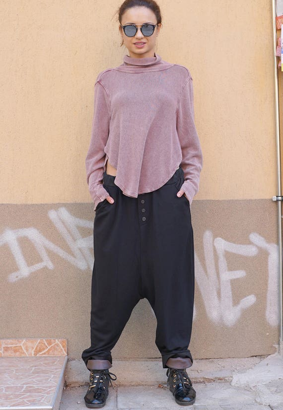 Baggy Fall Winter Pants, Maxi Drop Crotch Black Pants, Loose Harem Pants, Side Pockets Oversized Trousers
