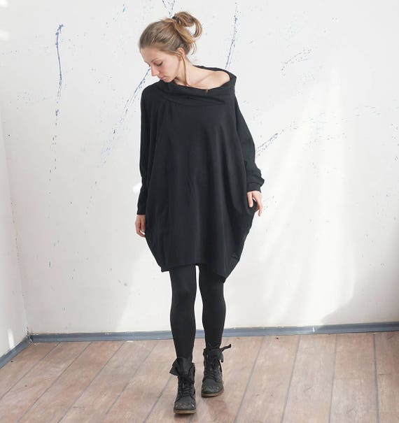 Spring Oversized Black Dress Tunic, Wide Turtle Neck Extra Loose Dress, Lax Open Neck Smock, Baggy Lagenlook Dress Tunic