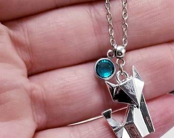 Origami Fox Necklace, Fox Birthstone Necklace, Silver Fox Necklace, Origami Jewelry, Unique Fox Jewelry, Origami Animal, Birthstone Jewelry