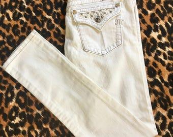 Miss Me White Skinny Jeans with Rhinestones JP5002563