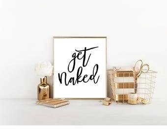 Get Naked Bathroom Digital Print, Funny Bathroom Decor, Bathroom Digital Download, Printable Wall Art