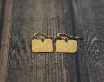Earrings Handmade jewelry 24K gold plated Squares
