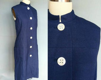 warm gun / 1960s navy blue nehru collar linen dress / claudia by george halley / 10 12 medium
