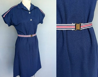 athletic / 1970s navy blue tennis dress / shirt dress with red white and blue stripes / small