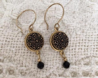 Earrings with Vintage Black Glass Gold Luster Buttons-Unique Earrings-Repurposed-Vintage Style-Button Jewelry-Upcycled-Vintage Jewelry
