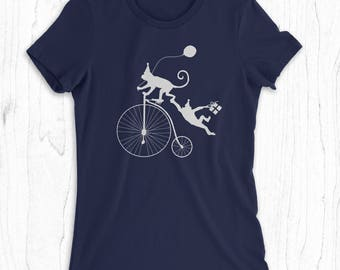 Monkeys Riding Bicycle - Women's Monkey T-shirt - Funny Monkey Shirt for Her - Birthday Party T-shirt - Monkey Tee- Funny Bicycle Shirt