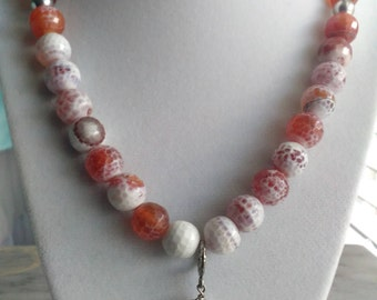 Red Fire Agate Bead Necklace with a Red Agate Pendant