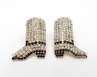 Vintage Incredible Cowboy Boots Rhinestone Clip on Earrings Retro clip-on Rodeo Cowgirl