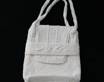 Vintage White Beaded Purse 1973