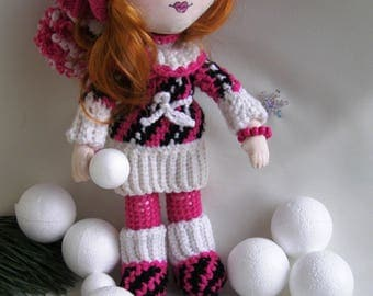 rag doll in knitted suit and hat Handmade textile doll with movable hands and feet Great gift for Valentine's Day Gift for a girl