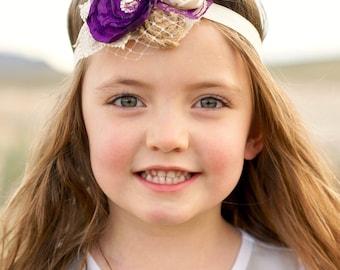 Flower girl headband / Eggplant purple headband / Girls headband / Flower girl accessories / Photography prop headband / Lace headband / Bow