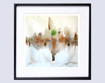 Abstract, Urban Art, Print Fine Art Print, City scene, Urban abstract, landscape Abstract, watercolor painting, Brown, beige, neutral