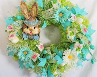 Easter Bunny Mesh Wreath,  Front Door Easter Wreath, Green Easter Wreath, Spring Mesh Wreath, Spring Decor, Easter Decor, Easter Door Decor