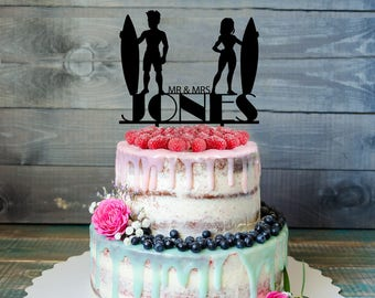 Surfers wedding Cake Topper- cartoon surfers Cake Topper- Wedding Cake Topper- surfers Cake Topper- Personalized surfers cake topper