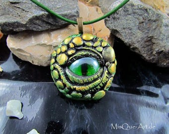 """Golden dragon eye"" necklace with pendant"