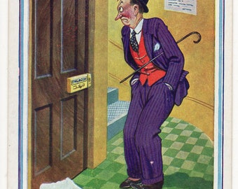 Vintage Artist Signed Comic/Saucy Postcard,Donald MCGILL,Awaiting your Convenience,Man,Toilet,Smoker,D Constance, c1950s
