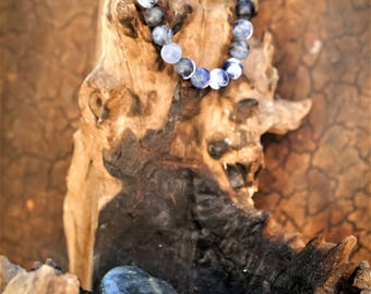 Sodalite/Lava Essential Oil Natural Gemstone 8mm Bracelet