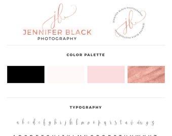 Rose gold brand logo, Branding Kit, Photography Logo, Premade Logo, Rose Gold Logo, Logo Design, Calligraphy Logo, Premade logos, Watermark
