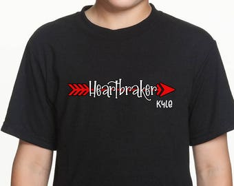 Heart Breaker Personalized Valentine's Youth Shirt - Funny Valentine's Day Shirt - Youth V-Day shirt
