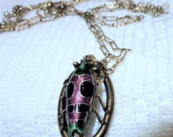 Antique Silver Enamel Cicada pendant and Chain Necklace