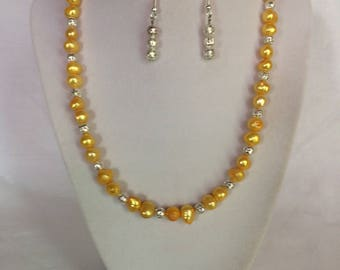 Yellow Cultured Pearl Necklace Earring Set