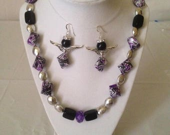 Purple Delight Necklace Earring Set
