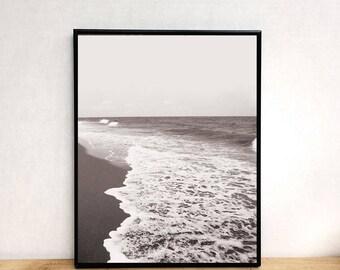 Ocean print, black and white beach print, beach print, photography print, printable wall art, prints wall art, wall art printable