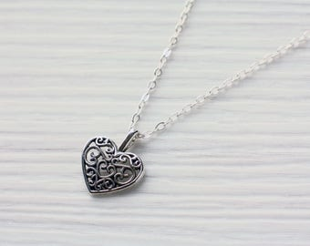 Ornate silver heart necklace | Small heart charm | Petite heart jewelry | Little heart pendant | Sterling Silver | Antique silver | Romantic