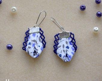 Earrings flower edge lace fabric
