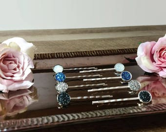 Druzy hair pins, sparkly embellished bobby pins, Set of 4, mix and match, silver or black hair pins, Colorful bobby pins, Made to order