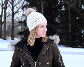 Cream/Ivory Textured Beanie with Faux Fur Pom // White Slouchy Pom Beanie // Winter Hat // Gift for Her
