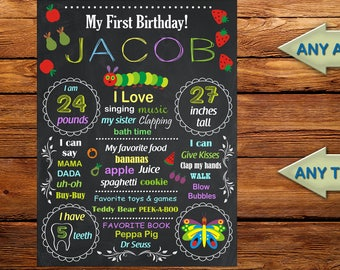 Very Hungry Caterpillar chalkboard poster, Caterpillar 1st birthday poster, Chalkboard Sign,Chalkboard 1st birthday poster- digital file