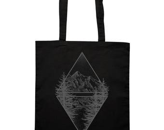 Tote Cotton Bag, Canvas Shopper, Shopping bag, Black Mountain and Lake