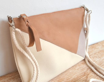 "Leather wallet with Tan, pink and ivory beige strap ""PANTAI"""