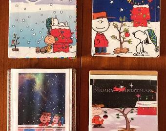 Charlie Brown Handmade Decorative Set of 4 Christmas Holiday Coasters!!
