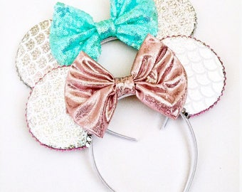 The Mermaid (Silver)  - Handmade Mouse Ears Headband