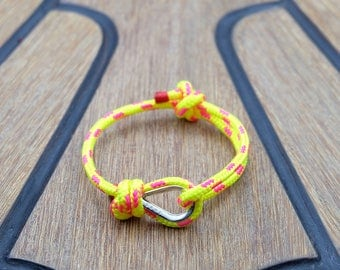 Handmade Customized Nautical Sailing Bracelet 925 Silver bright yellow pink color | Personalized Men present | Adjustable size, Unisex