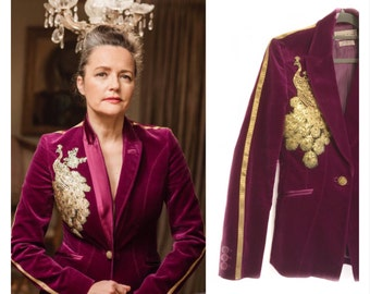 The Borgia. Stunning womens vintage claret velvet jacket with gold sequin peacock and gold sportluxe stripe