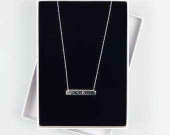 Personalised Sterling Silver Initial Horizontal Bar Necklace