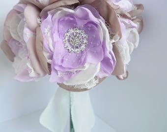 Lavender Fabric Flower Bouquet, Brooch Bouquet, Fabric Flower, Bridesmaid Bouquet, Purple, Lavender, Shabby Chic Bouquet, Vintage Bouquet