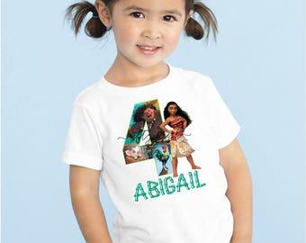 Disney Moana Birthday Custom Name Tshirt Onesie Boy Girl Kids Baby Infant Children Toddler Youth Any Size