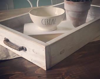 Coffee Table Tray, Wood, Ottoman, Rustic, Breakfast, Serving, Farmhouse Decor, Fixer Upper Decor, Cottage